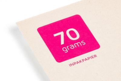Printen op ecologisch Paperwise papier 70 grams, vaak gebruikt als inpakpapier