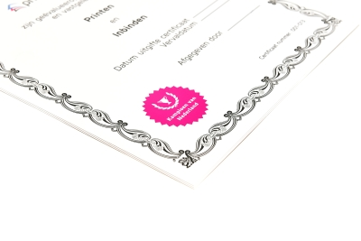 Hoge kwaliteit drukwerk van certificaten