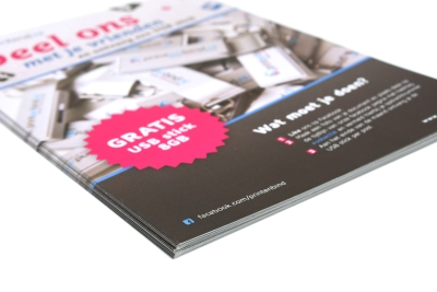 A5 flyer formaat op hoge kwaliteit papier gedrukt