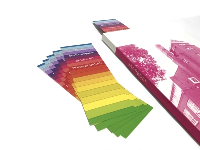 Single and double sided printed bookmarks possible