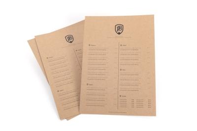 Hoge kwaliteit menukaarten, weer- en waterbestendig