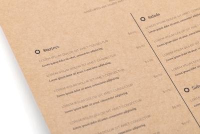 Online menukaarten laten printen en vouwen