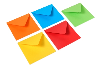 Bright colored envelopes: red, blue, green, yellow and orange