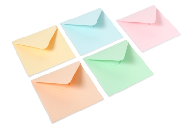 Pastel shades for your envelopes: baby blue, baby pink, light green, apricot and gems