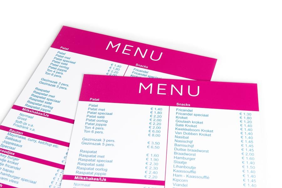 Extreem Menukaarten drukken: online, goedkoop en snel - Printenbind.nl @JG62