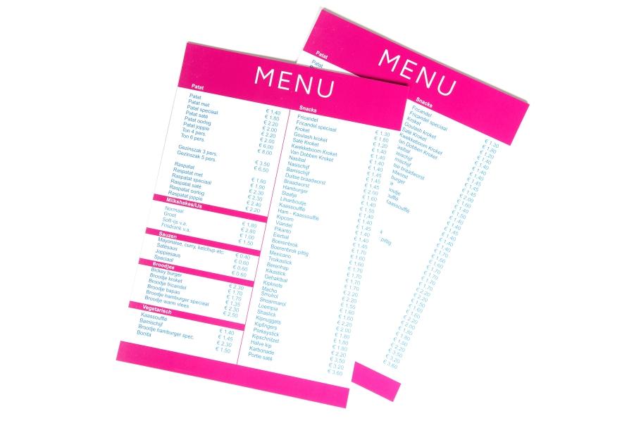 Bekend Menukaarten drukken: online, goedkoop en snel - Printenbind.nl #GB67